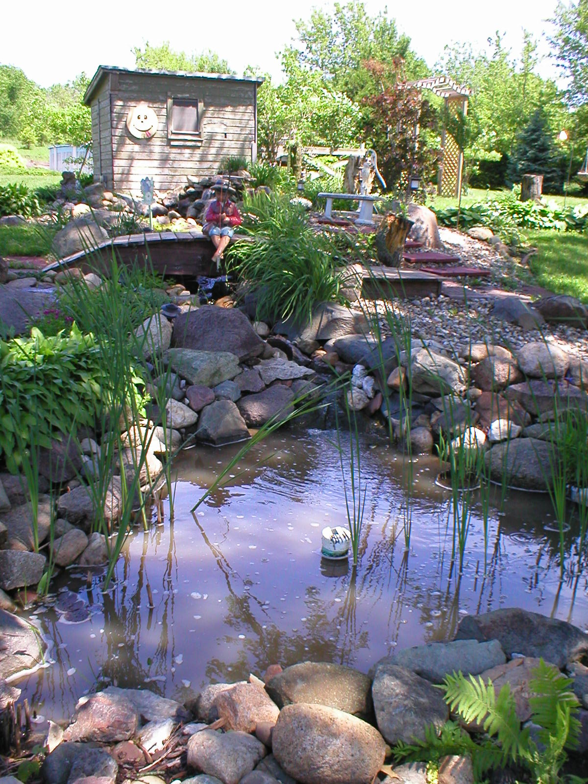 I Helped This Home Owner Design This Pond. The Homeowner Did All Of The  Work. It Is A Series Of Small Waterfall Pools. The Night Before The  Pictures ...